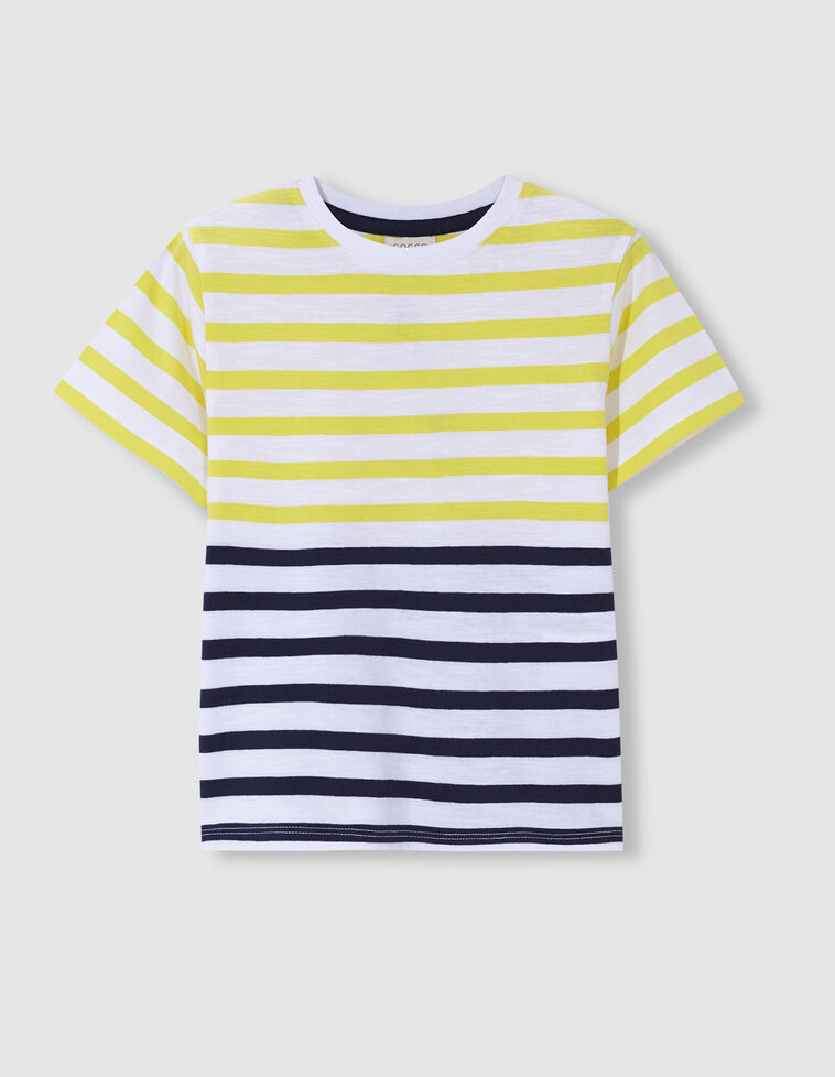 T-shirt riscas tricolor