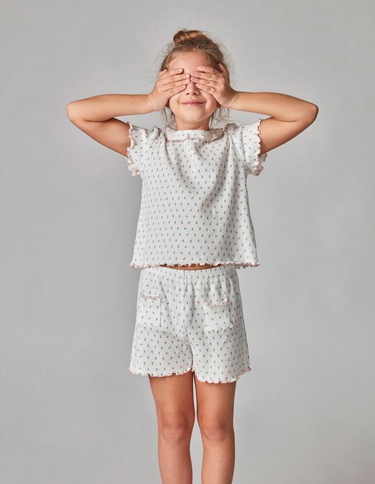 Pijama rib florzinhas off white