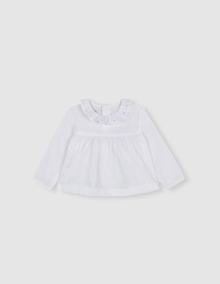 Blusa blanca bordados cuello