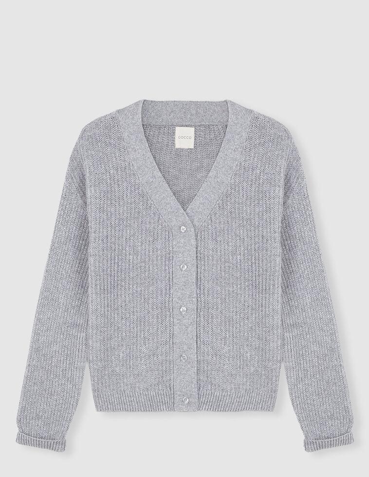 Casaco malha decote cinzento
