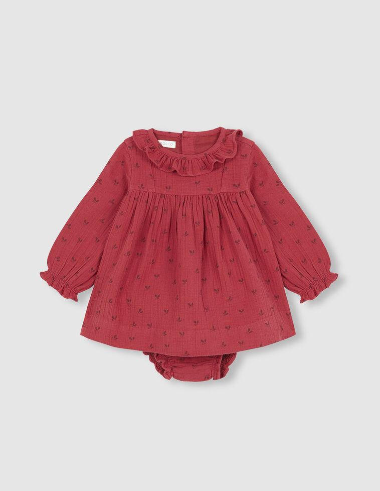 Vestido Folhinhas vermelho-morango