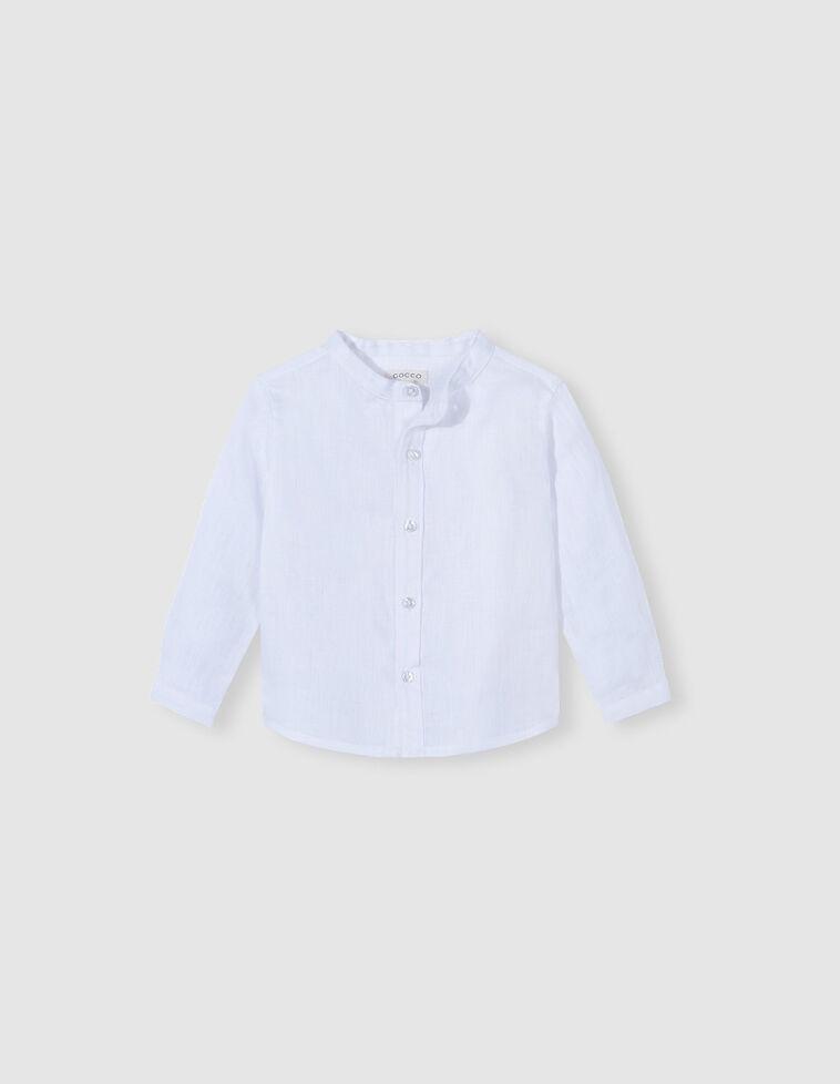 Camisa cuello mao lino blanco