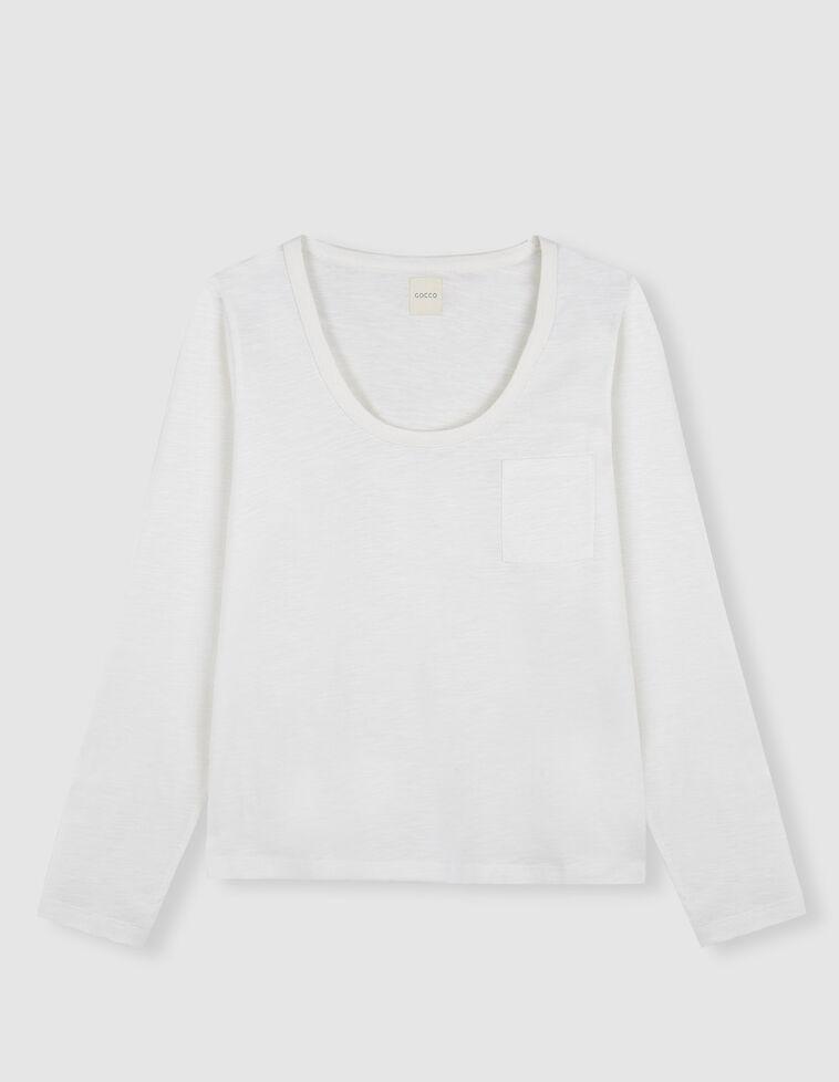 Camisola Manga Curta com bolso branco