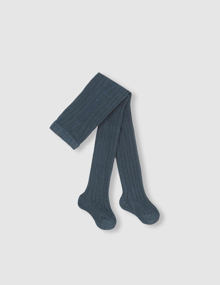 Meia-calça Canelada azul-petróleo