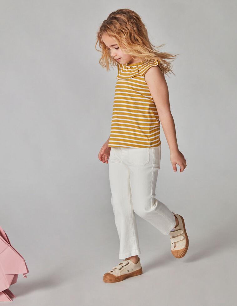 Pantalón twill largo blanco roto