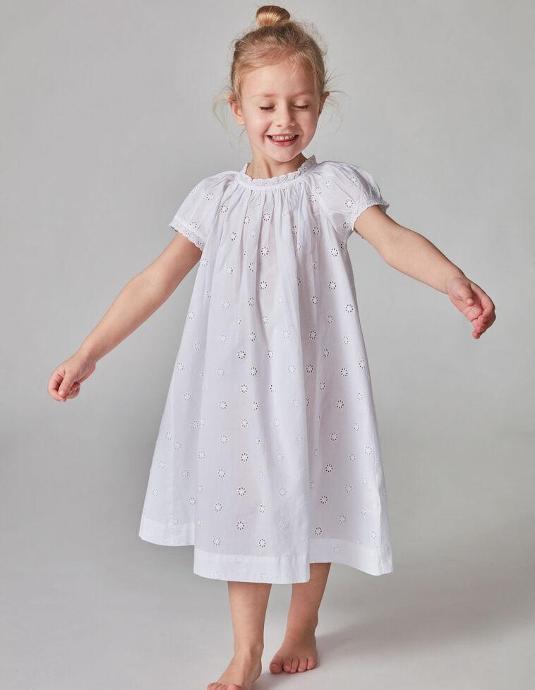 Camisa de noite branca bordado inglês