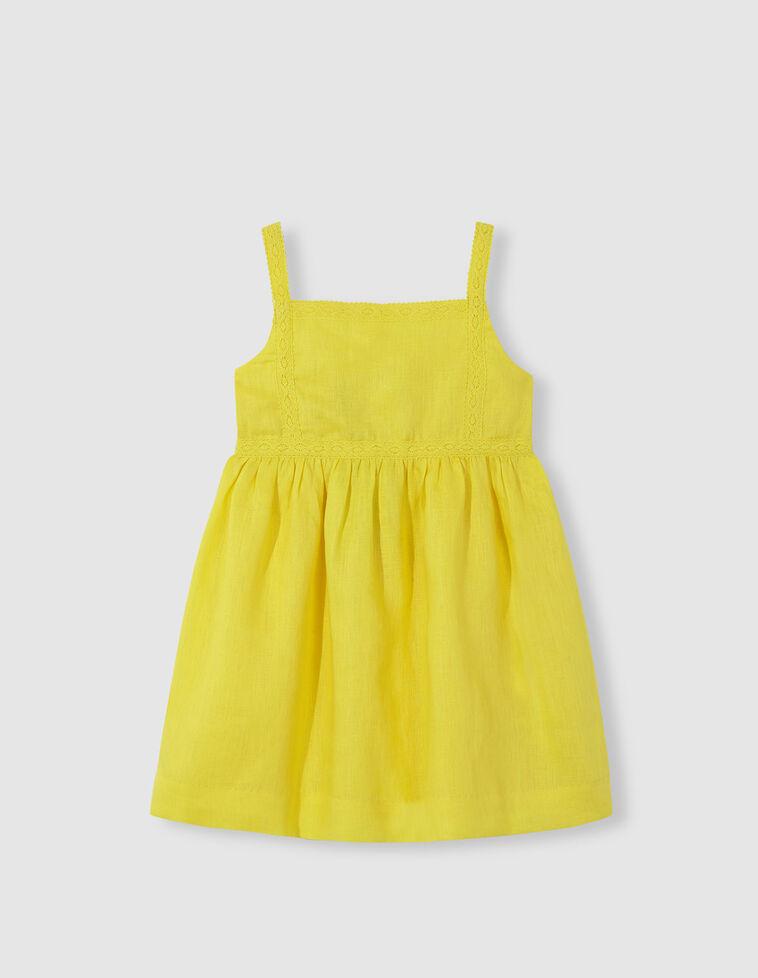 Vestido de linho amarelo com tiras bordadas