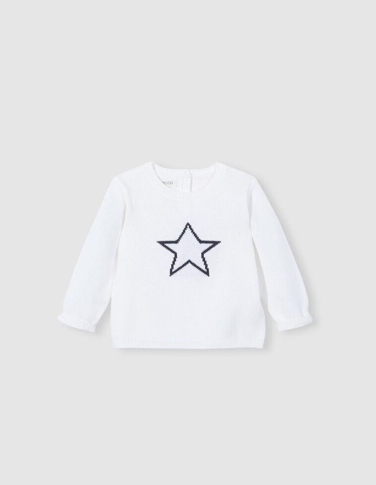 Camisola de malha branca bordado estrela