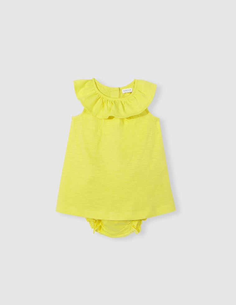 Vestido cuello volante amarillo
