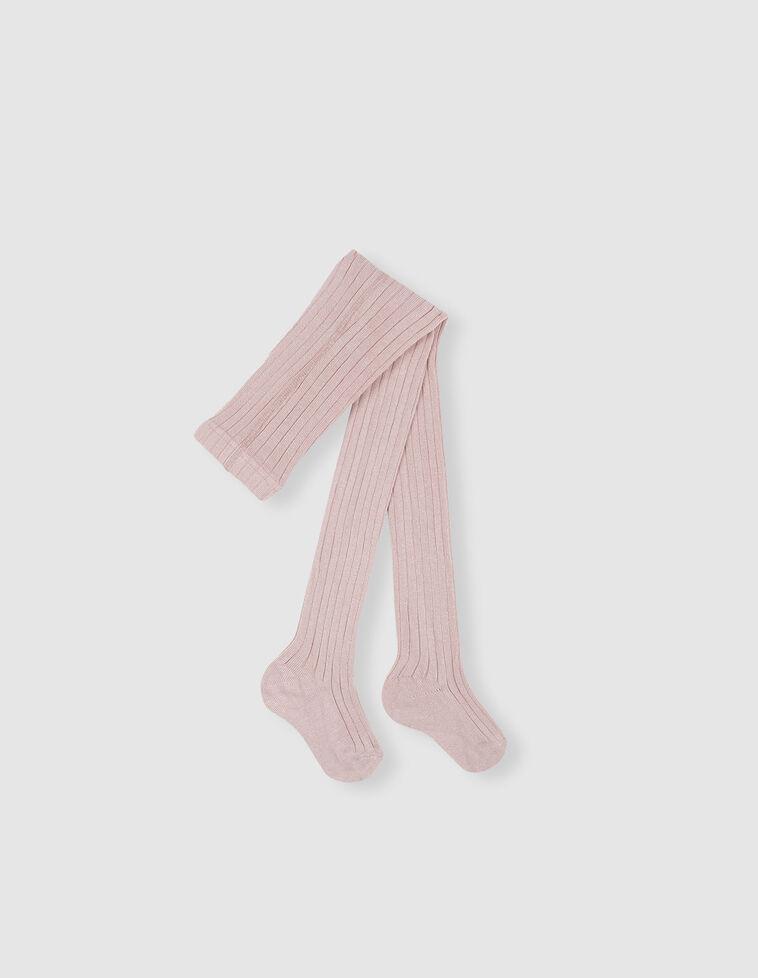 Meia-calça Canelada cor-de-rosa