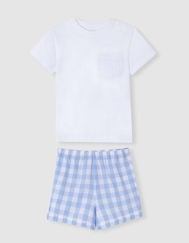 Pijama combinado quadrados azul claro