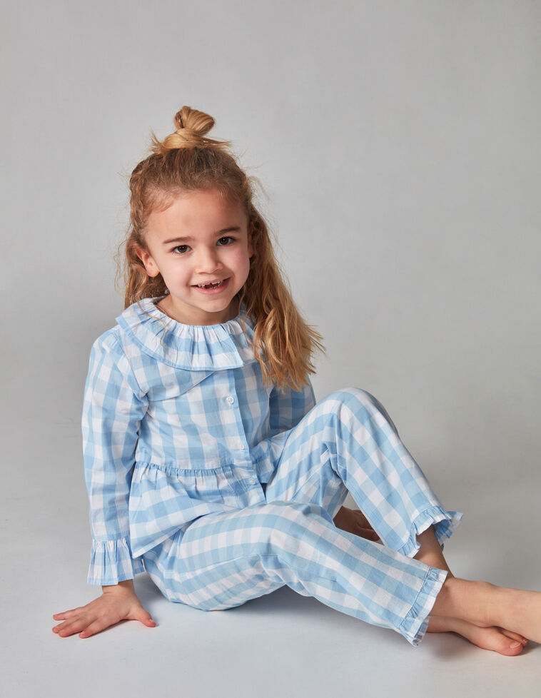 Pijama xadrez vichy azul claro