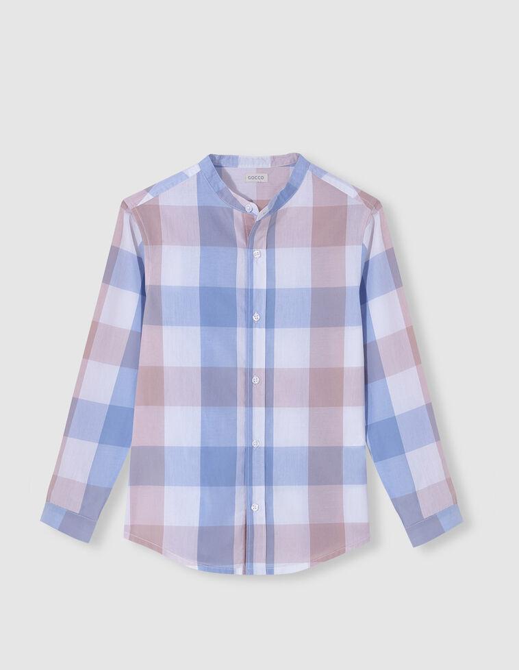 Camisa quadrados gola mao