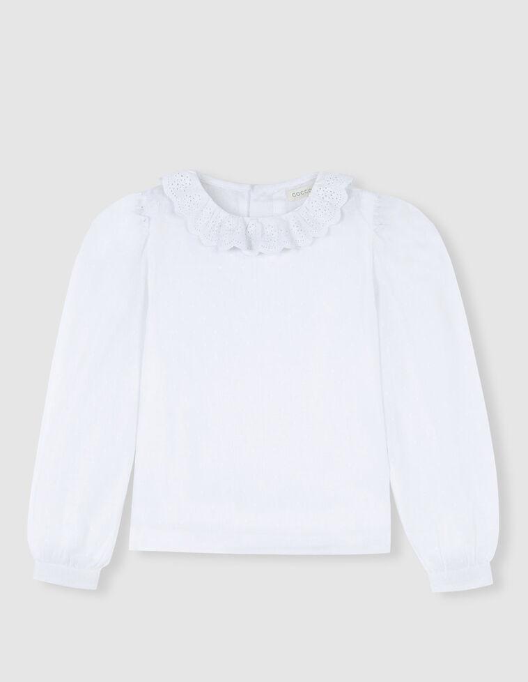 Camisa plumeti blanca tiras bordadas