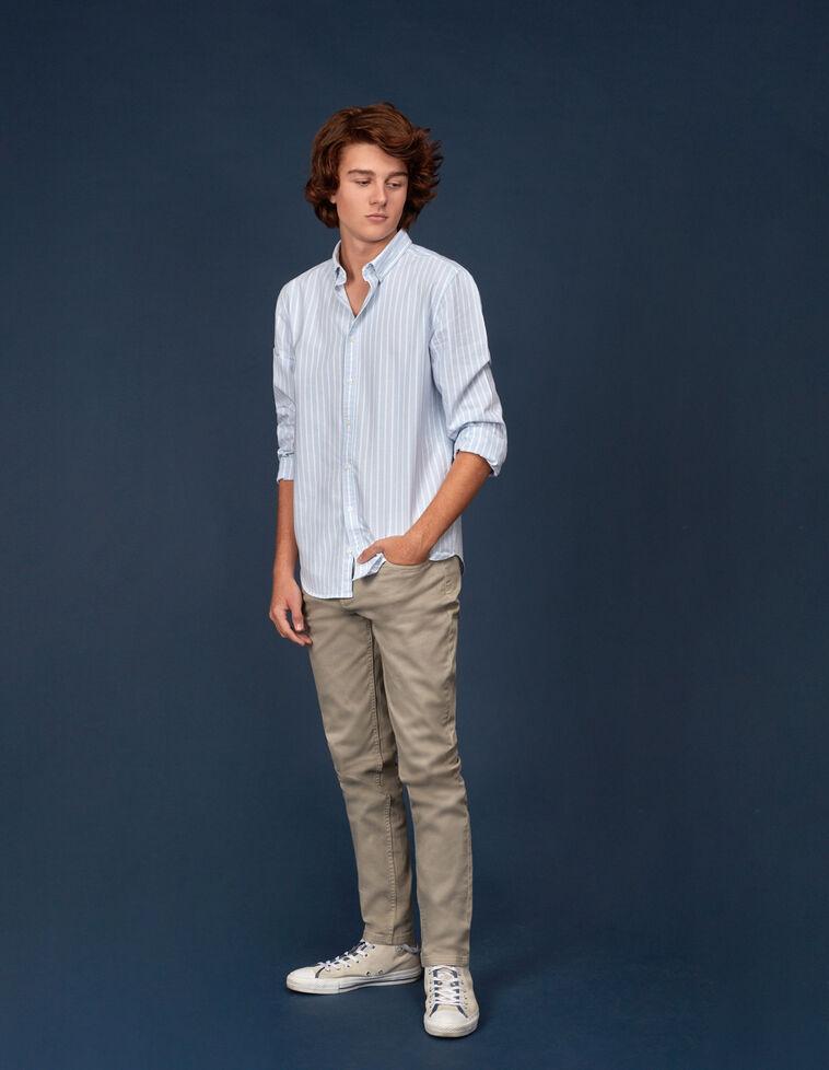 Camisa oxford rayas azul
