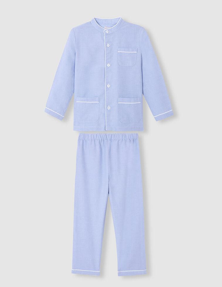 Pijama comprido de oxford azul celeste