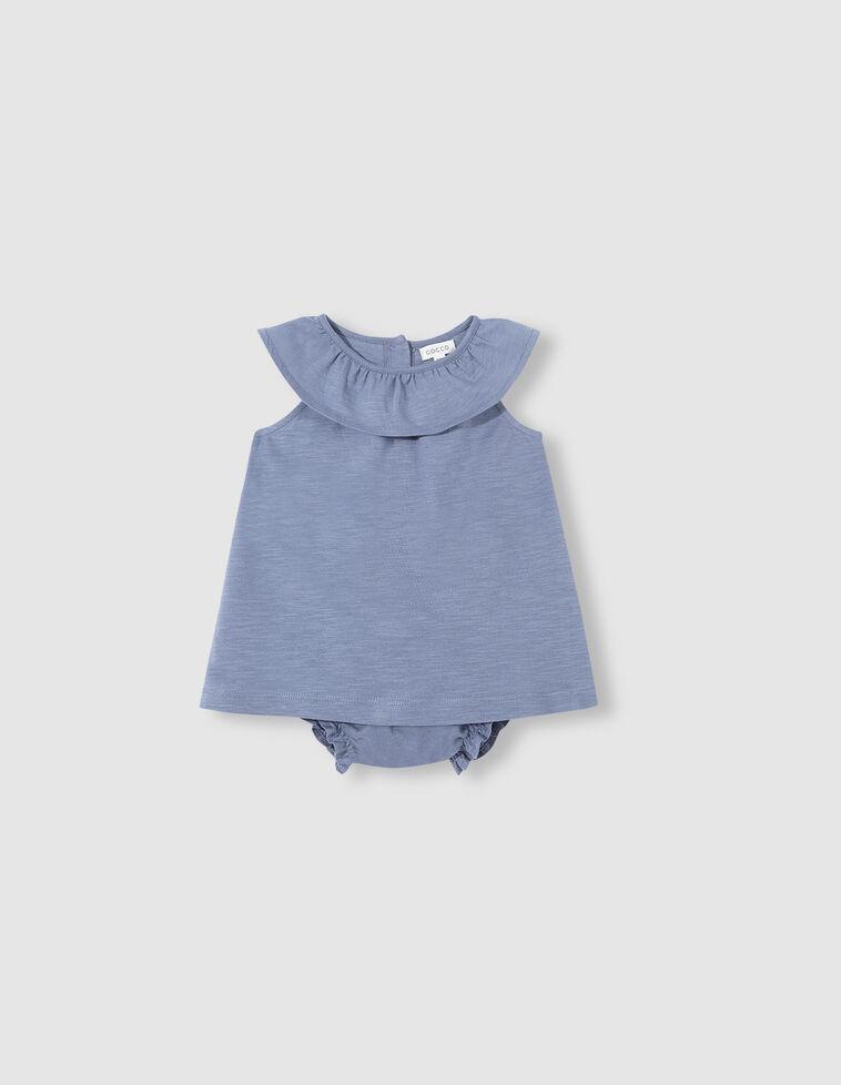 Vestido azul gola com folho