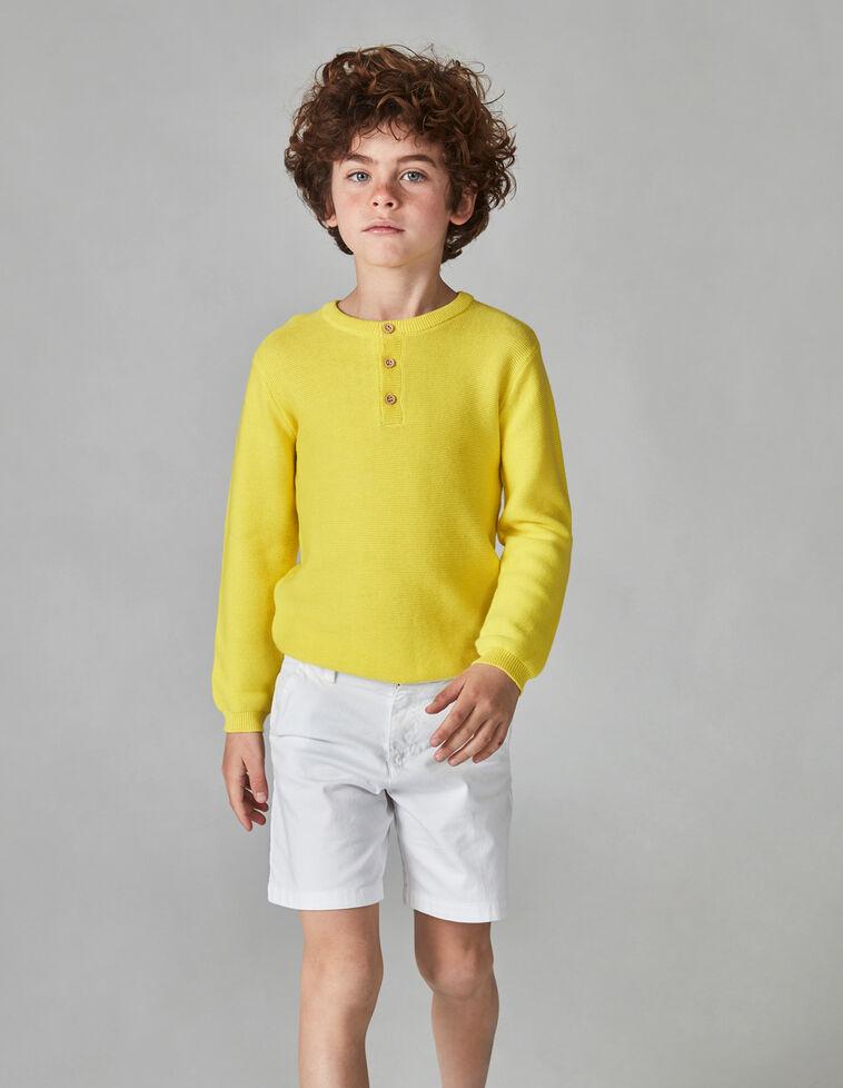 Camisola amarela com gola tipo padeiro
