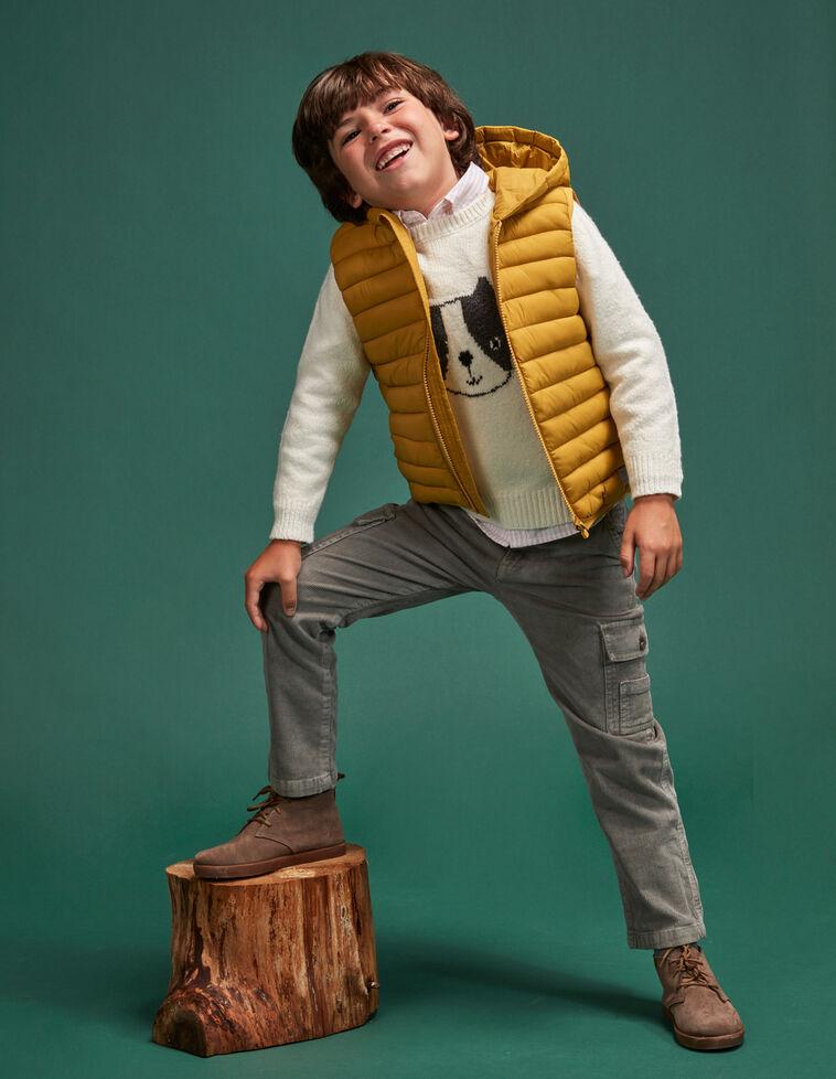 Chaleco unisex acolchado capucha amarillo