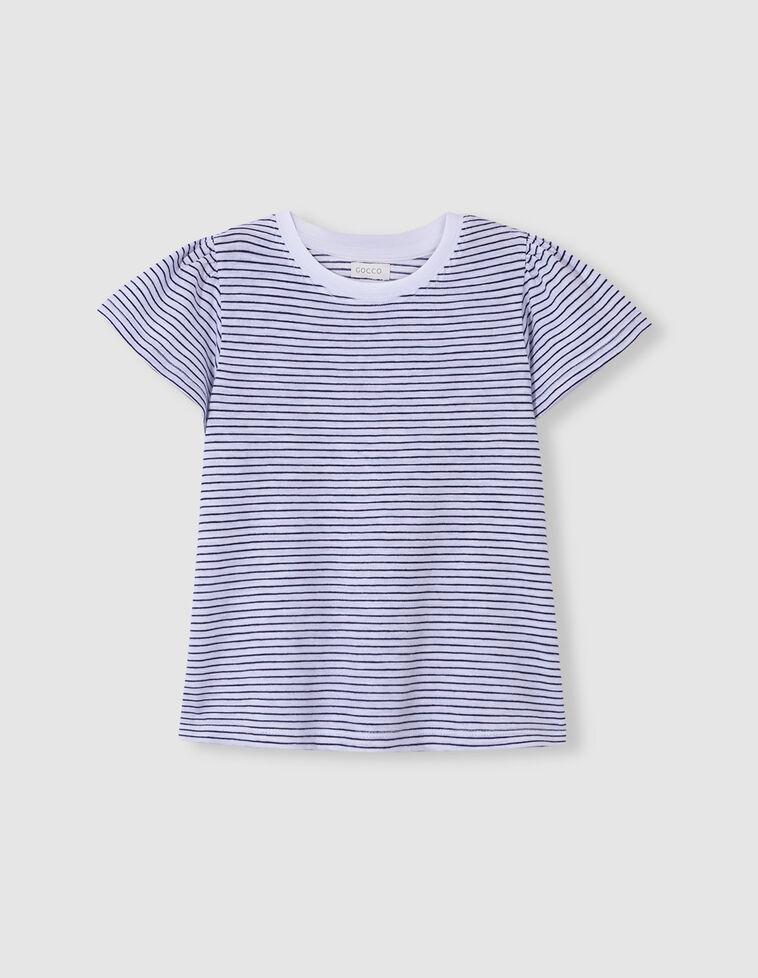 T-shirt manga com folhos riscas azul