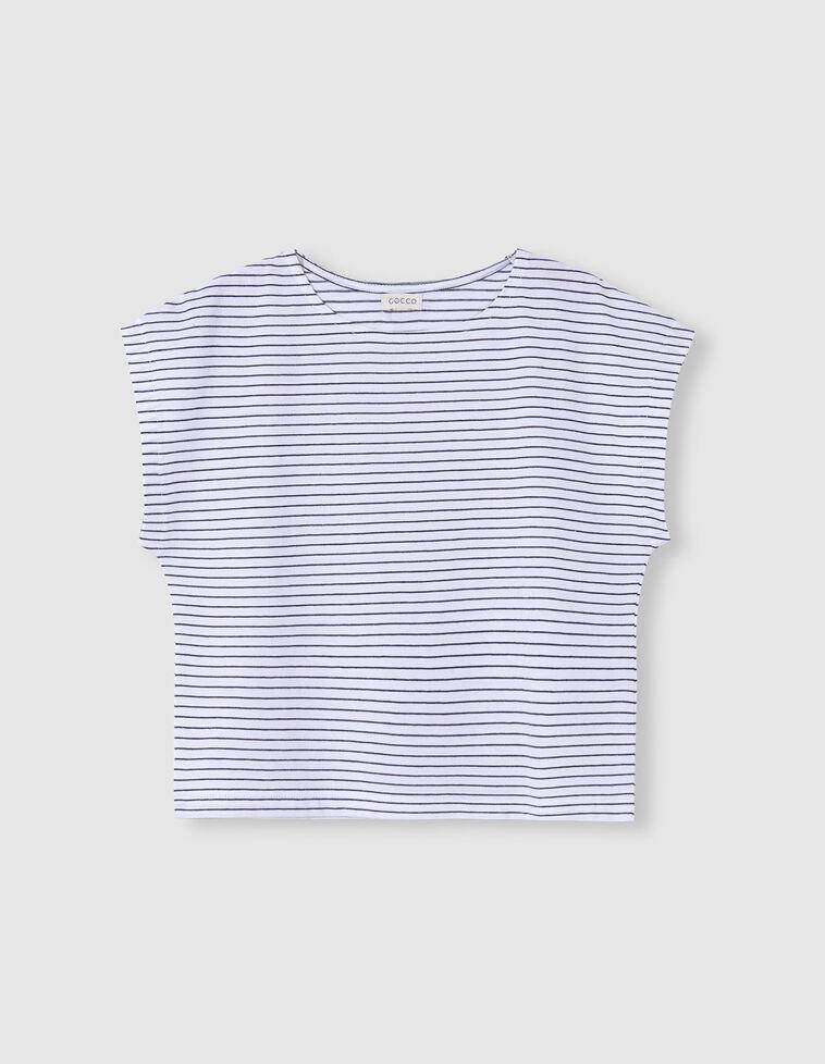 T-shirt branca riscas cinzentas