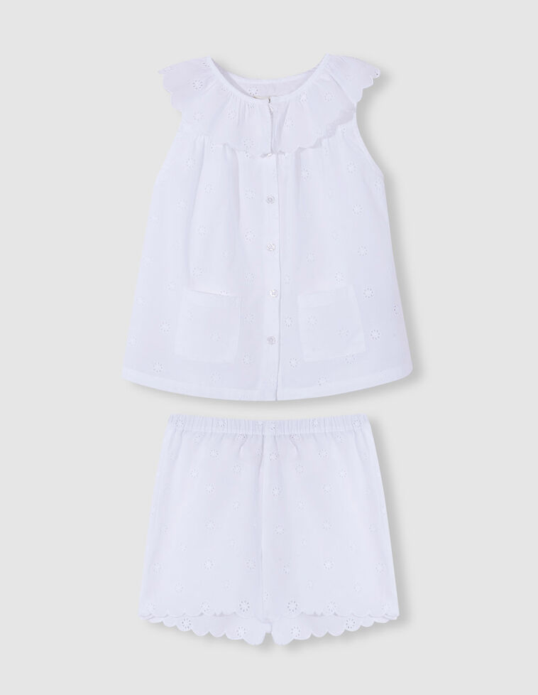 Pijama branco bordado inglês