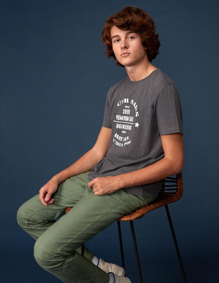 Camiseta básica gris print