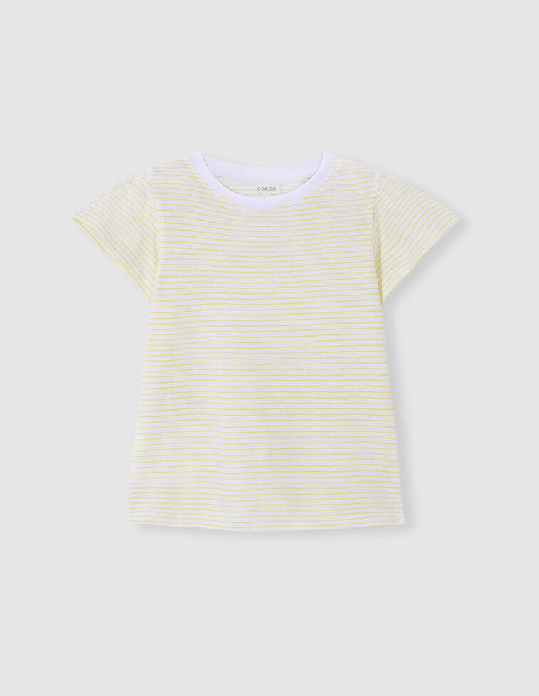 T-shirt manga com folhos riscas amarela