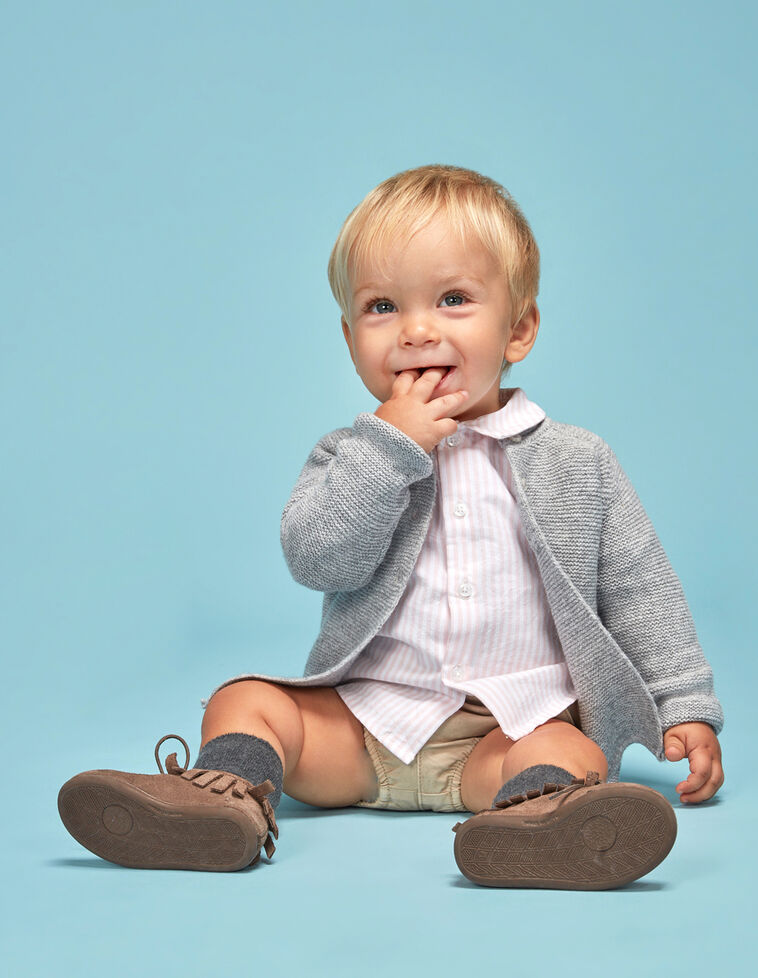 Camisa rayas cuello bebe