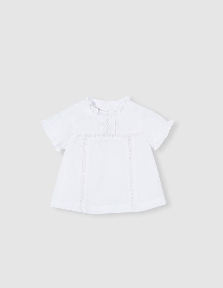 Camisa tiras bordadas cruda