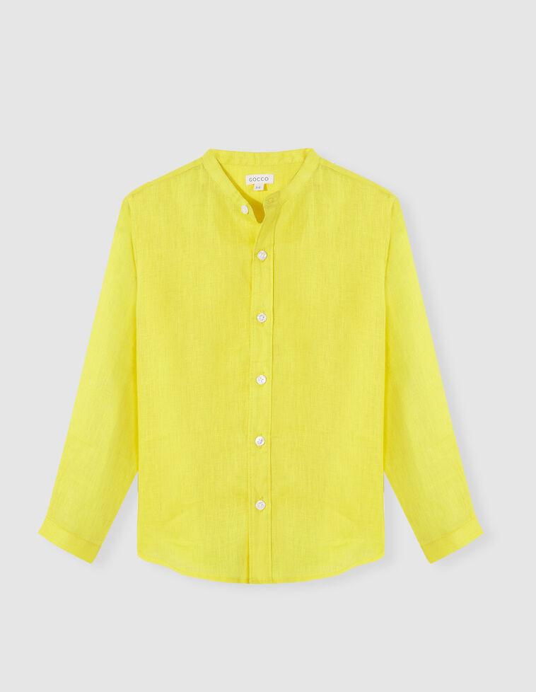 Camisa linho gola mao amarela