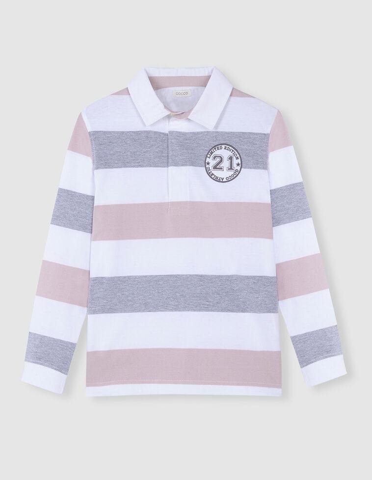 Polo Riscas cor-de-rosa