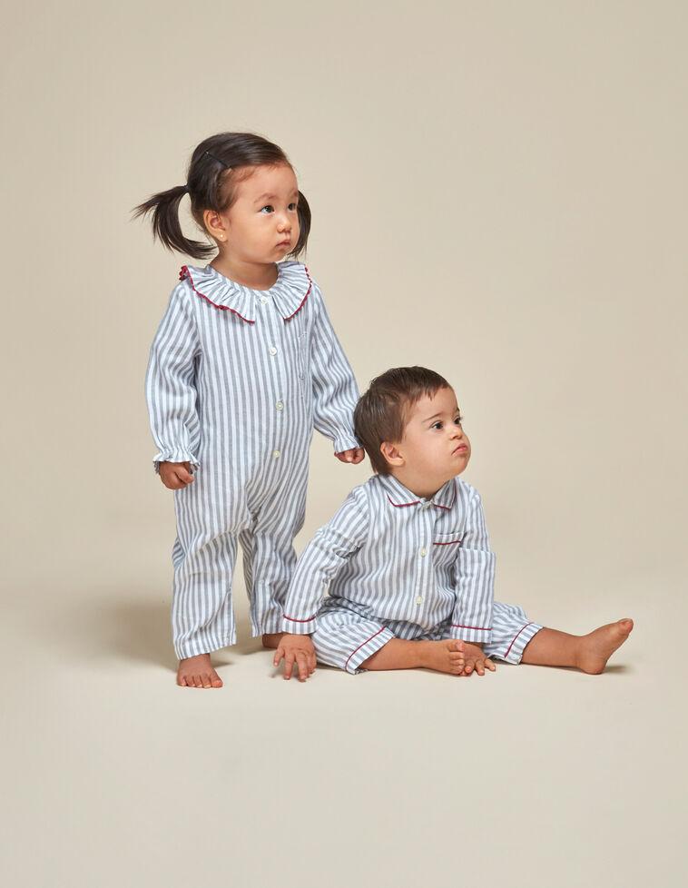 Pijama rayas cuello volante