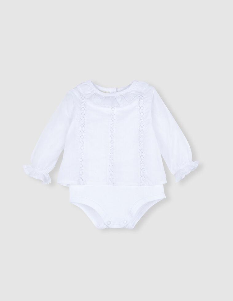 Camisa body branca com tiras bordadas