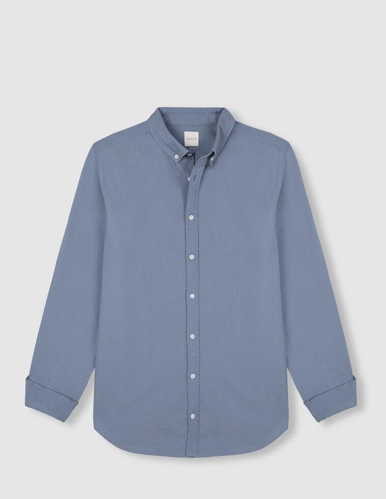 Camisa Oxford cor azul