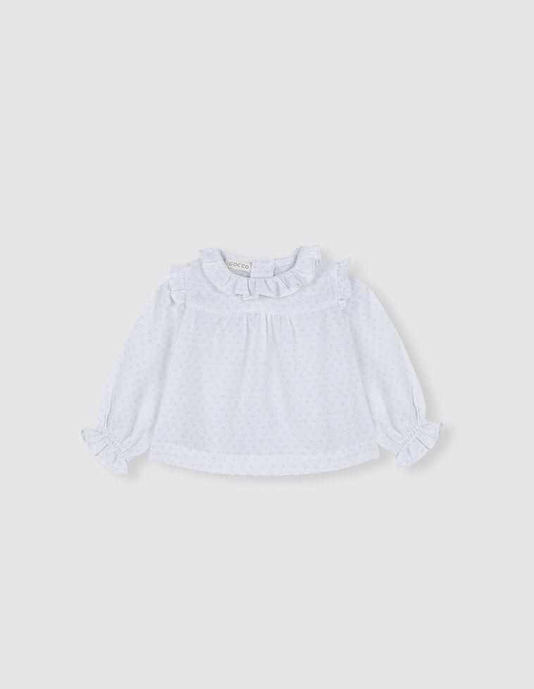 Camisa gasa blanca estampado lunares verdes