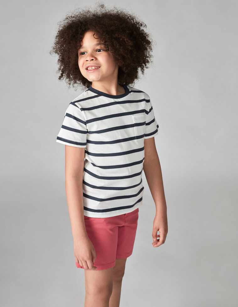 T-shirt riscas branca