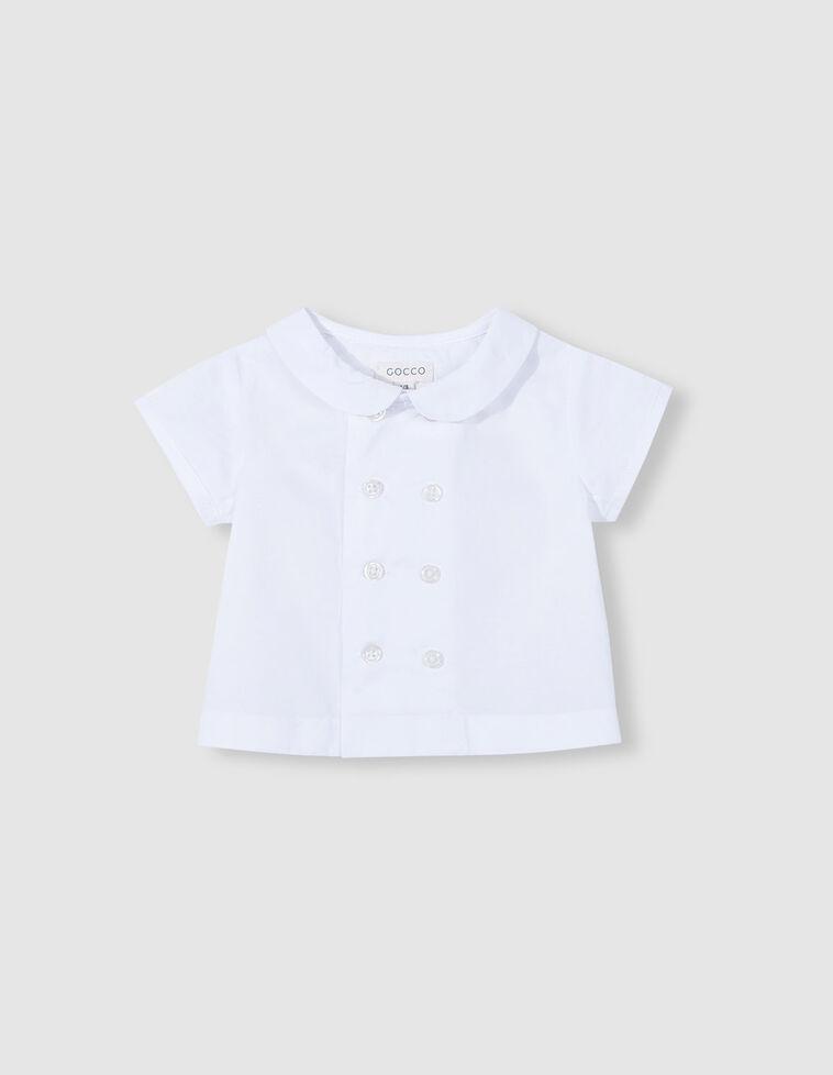 Camisa branca botão de fixação duplo