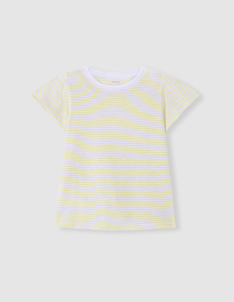 Camiseta manga voltantes rayas amarillo