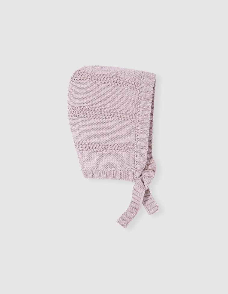 Gorro de malha canelado rosa