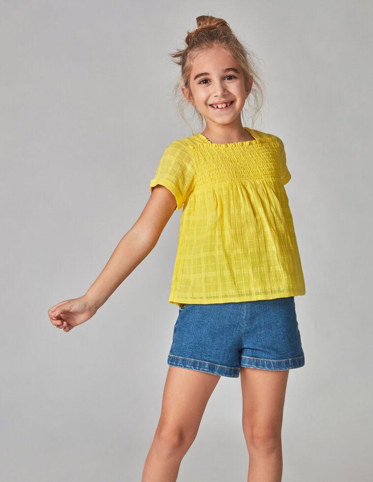 Camisa em chiffon bordada amarela