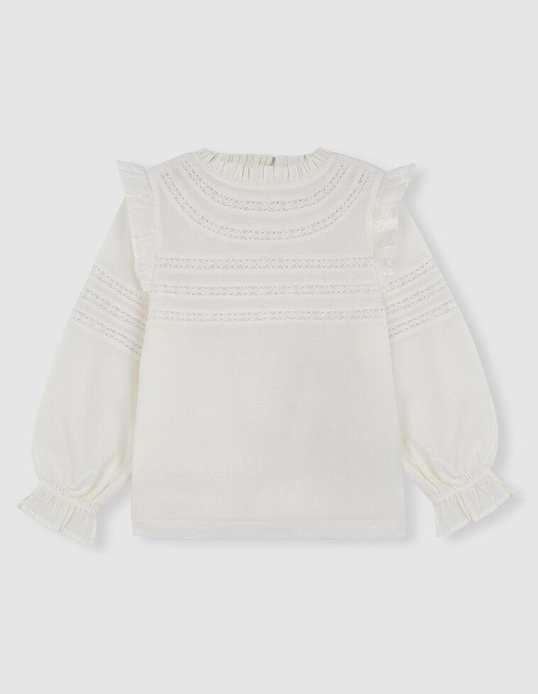 Camisa dobby romantica tiras bordadas