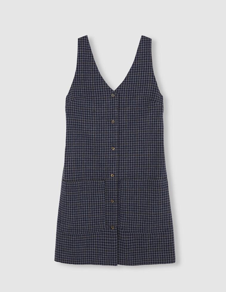 Avental quadradinhos azul e cinzento