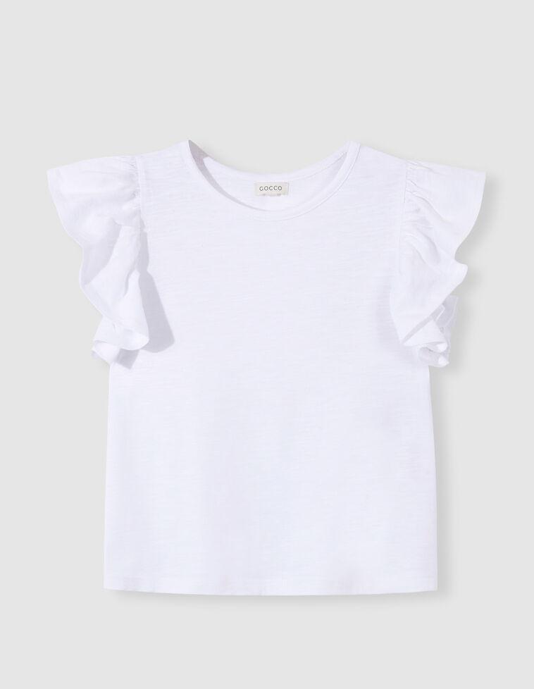 T-shirt branca com folhos